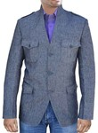Mens Gray Nehru Jacket 3 Button High Neck Safari