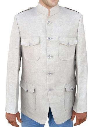 Safari style Natural color Linen Nehru jacket