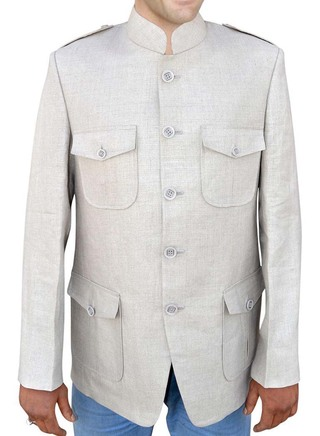 Mens Natural color Linen Nehru jacket Safari style