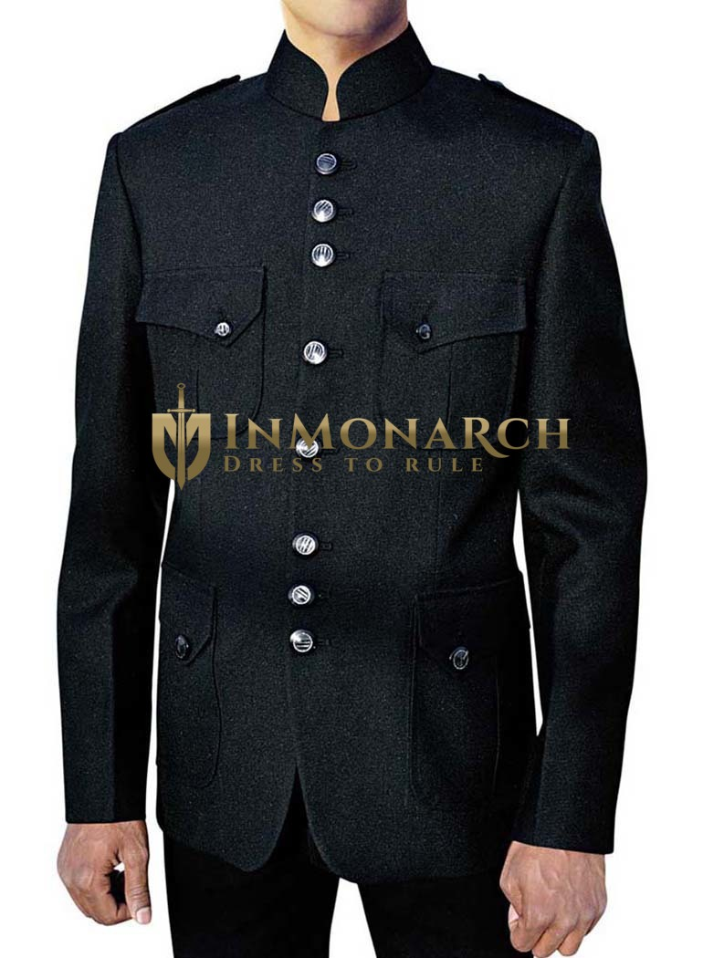 Mens Black Nehru Jacket Safari 4 Pocket