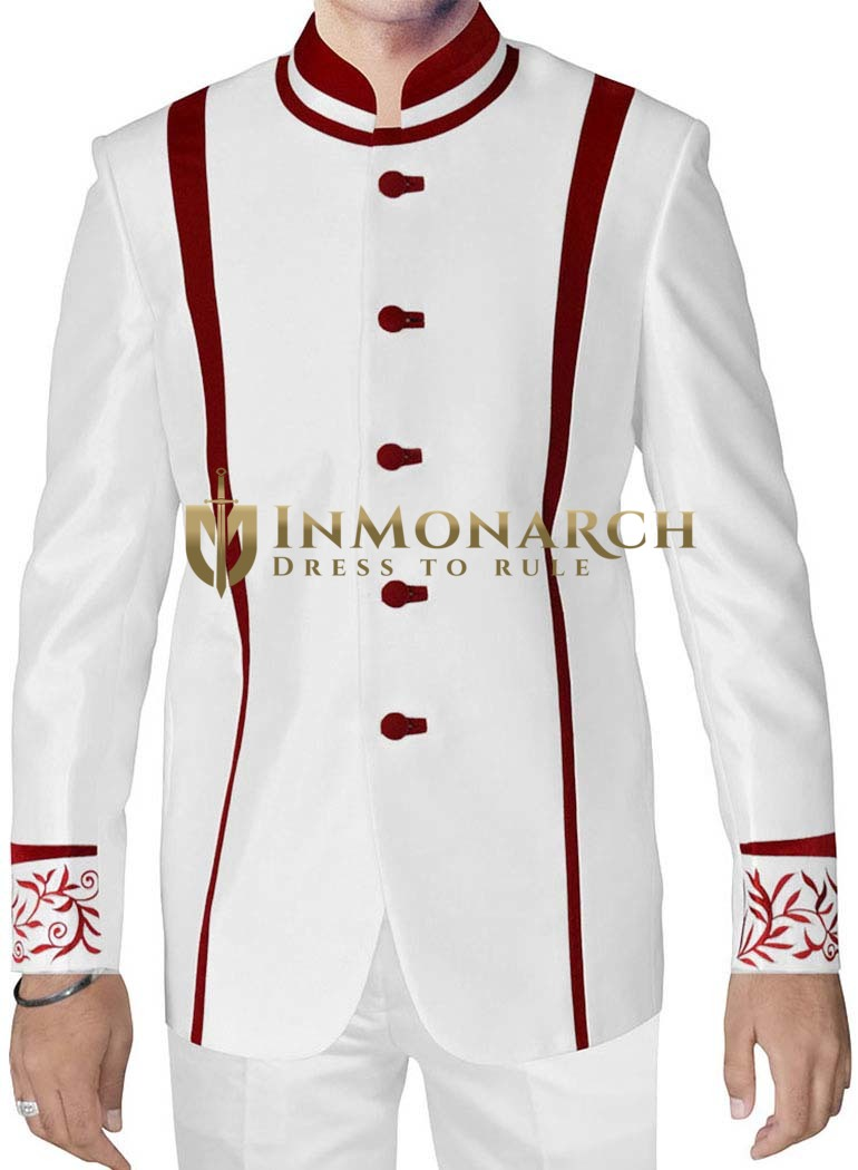 White Mens Designer Nehru Jacket for Wedding