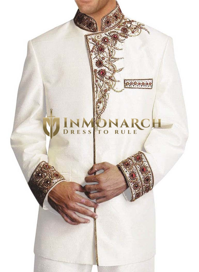 Mens Cream Nehru Jacket Heavy Embroidered