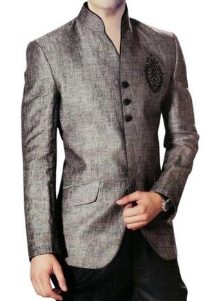 Mens Gray Linen Nehru Jacket Embroidered