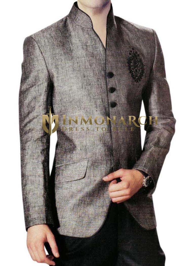 Mens Gray Linen Nehru Jacket Embroidered