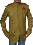 Mens Green Jute Nehru Jacket Safari Designer