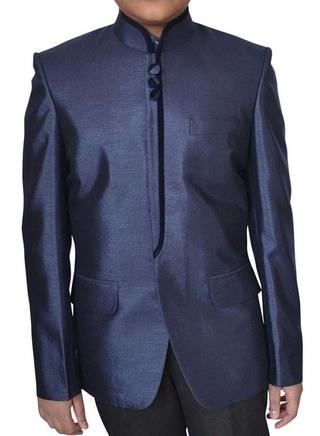 Mens Navy blue Polyester Nehru Jacket Designer