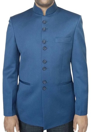 Mens Steel Blue Nehru Jacket Traditional