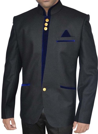 Mens Black Nehru Jacket Blue Trimming