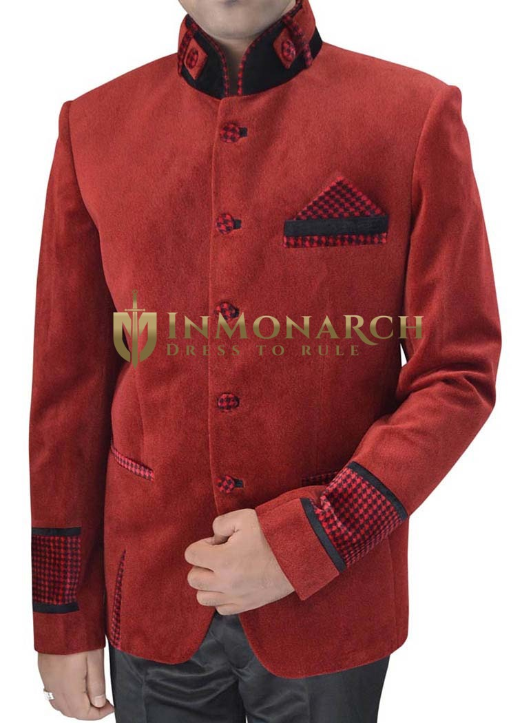 Mens Red Velvet Nehru Jacket Patch Cuffs