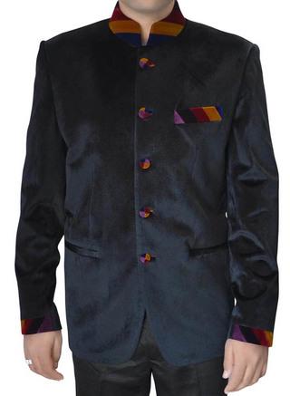 Mens Black Velvet Nehru Jacket Partywear