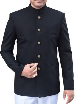 Mens Black Nehru Jacket Ethnic 5 Button