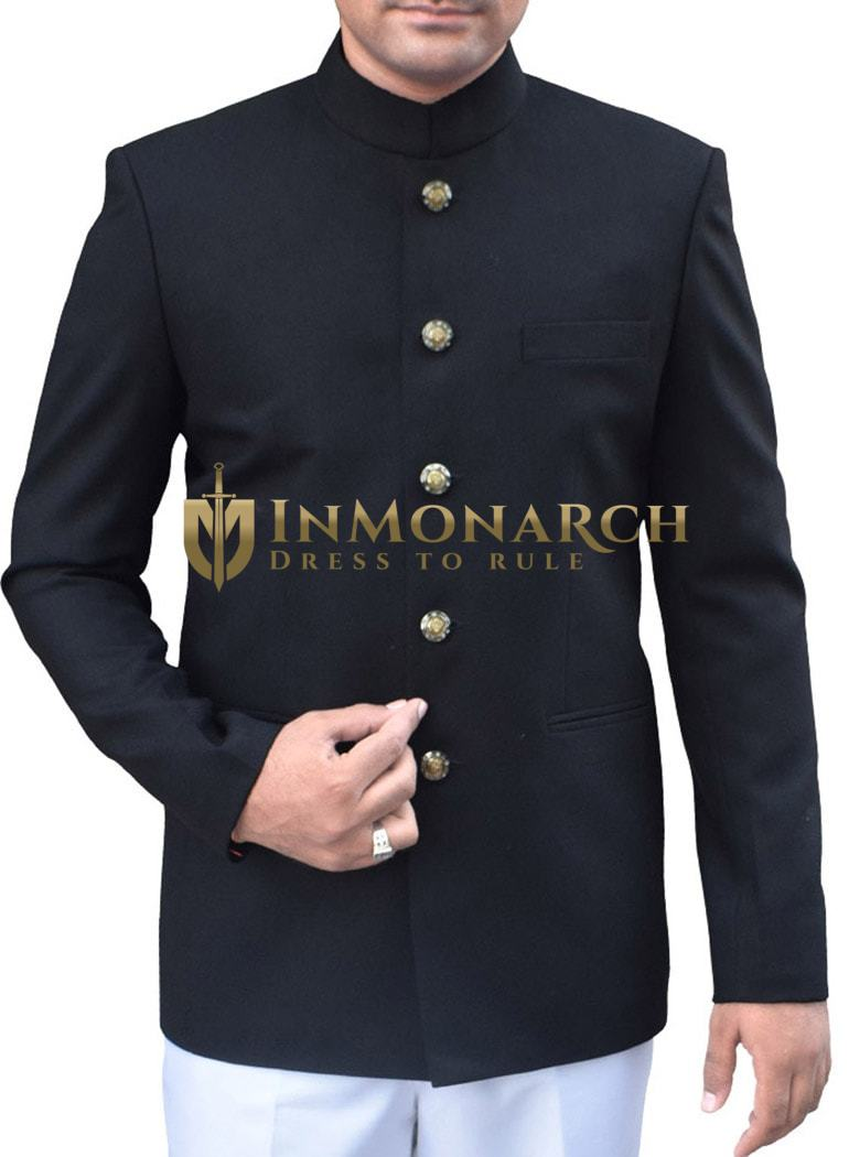 Ethnic 5 Button Black Nehru Jacket
