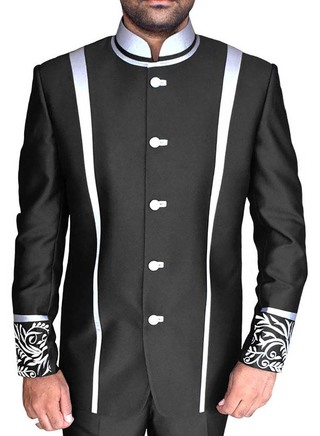 Mens Black Nehru Jacket Designer Work