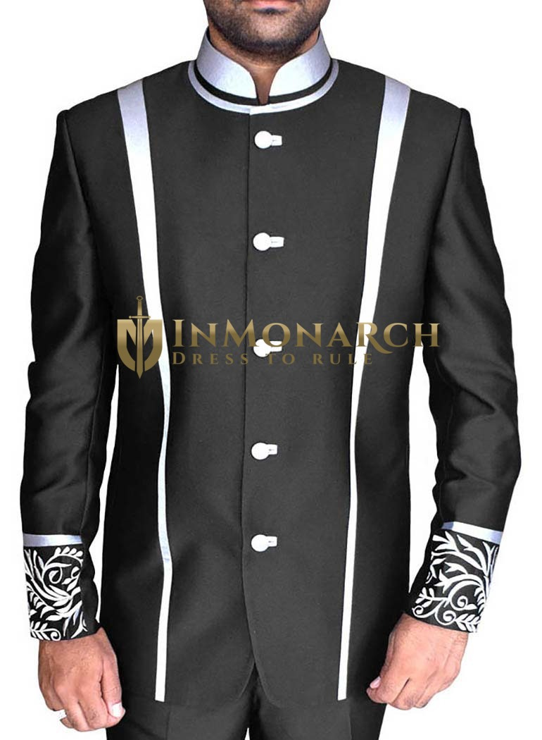 Mens Black Nehru Jacket Designer Work