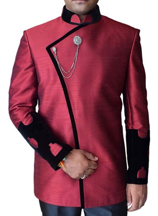 Mens 2 Pc Maroon Nehru Jacket Trimming Velvet