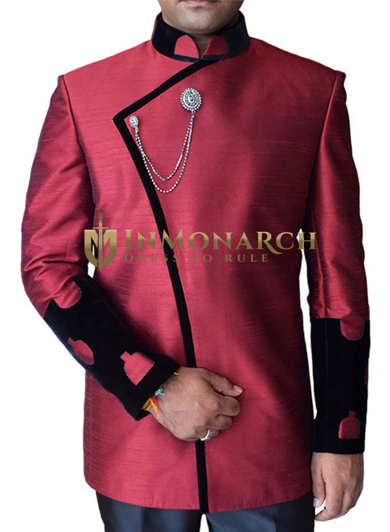 Wonderful Sleeves Cuff 2 Pc Maroon Nehru Jacket