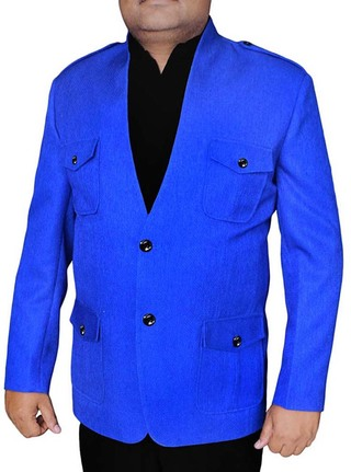 Mens Blue Blazer Safari 4 Pocket High Neck