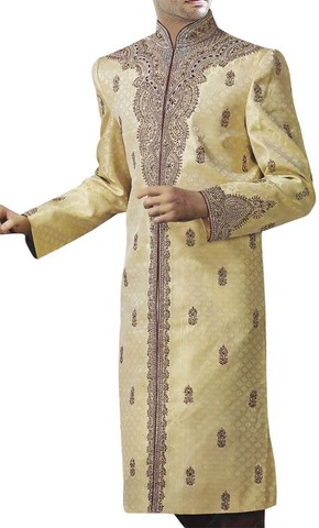Modern Look Golden Designer Wedding Sherwani