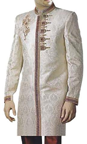 Mens Cream Brocade Wedding 2 Pc Sherwani