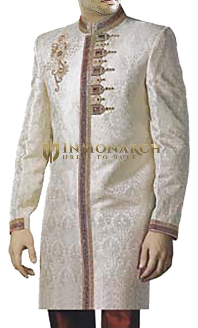 Designer Work Cream Brocade Wedding Sherwani