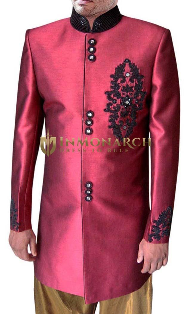 Classic Look Indian Red Wedding Groom Sherwani Suit