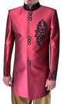Mens Red Indian Wedding 2 Pc Sherwani Embroidered