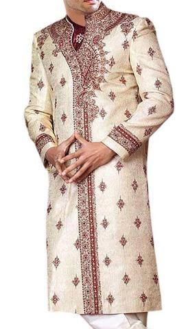 Mens IndianSuit Cream Designer Sherwani Embroidered