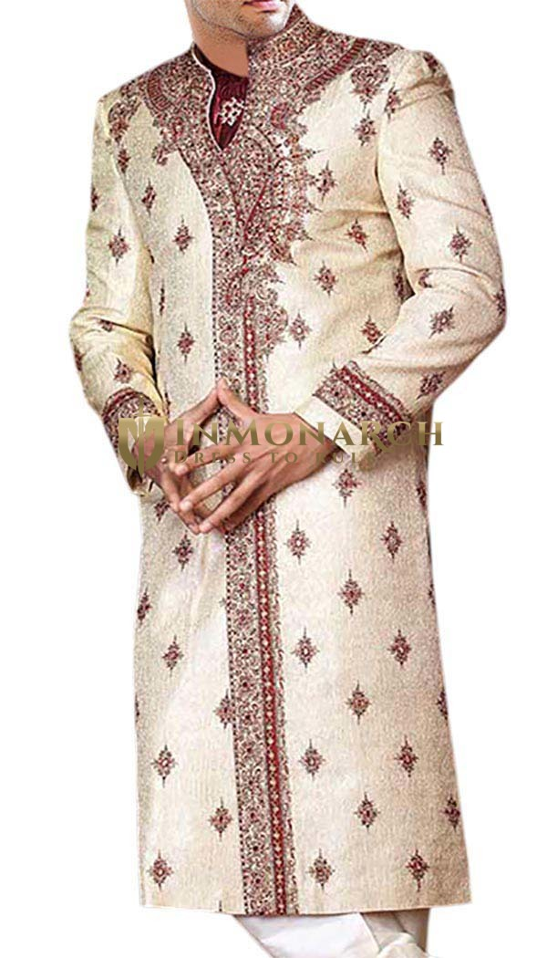 Stylish Fashionable Cream Designer Sherwani