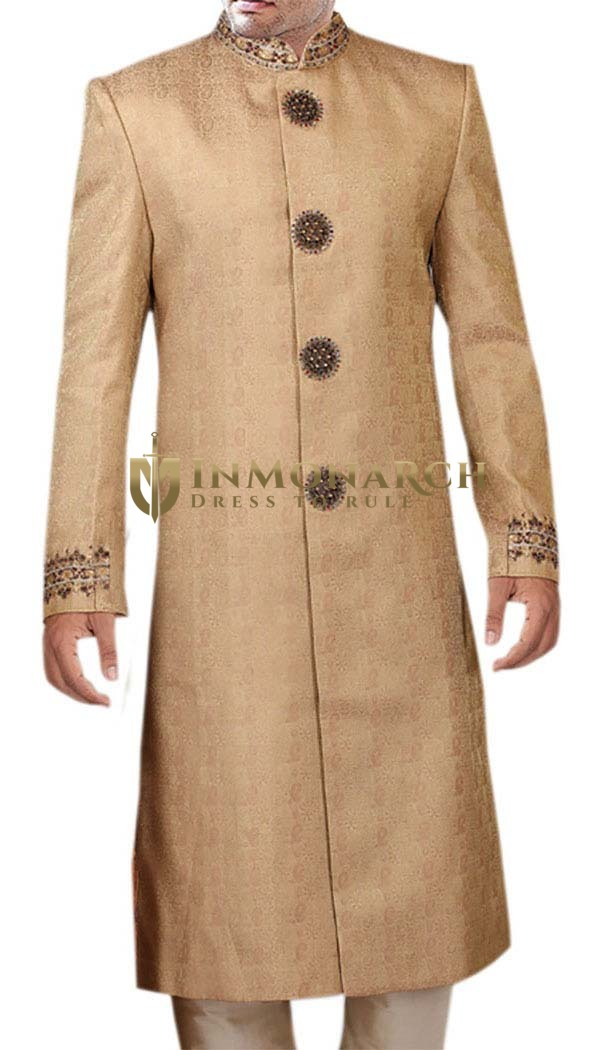 Mens Burlywood Wedding 2 Pc Sherwani Traditional