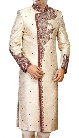 Men Sherwani Cream Wedding Sherwani For Men Hand Embroidered