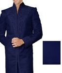 Mens Indian Suit Blue Sherwani Cutwork-Accented Western Attire Indian Suit