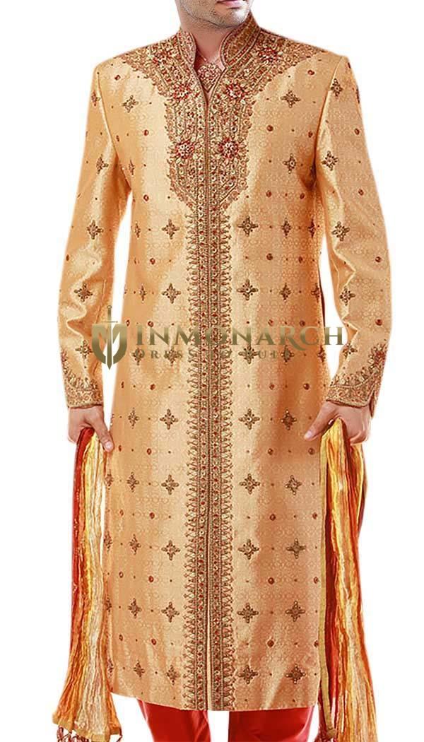 Mens Golden Dupion 3 Pc Sherwani Indian Wedding