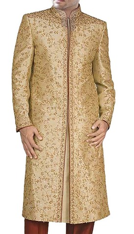 Mens Burlywood Brocade 2 Pc Sherwani Designer