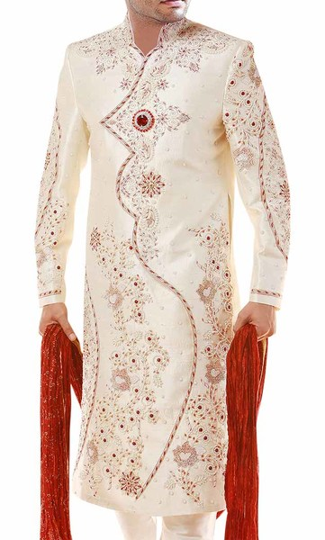 Mens Sherwani Superb Cream Indian Wedding Sherwani