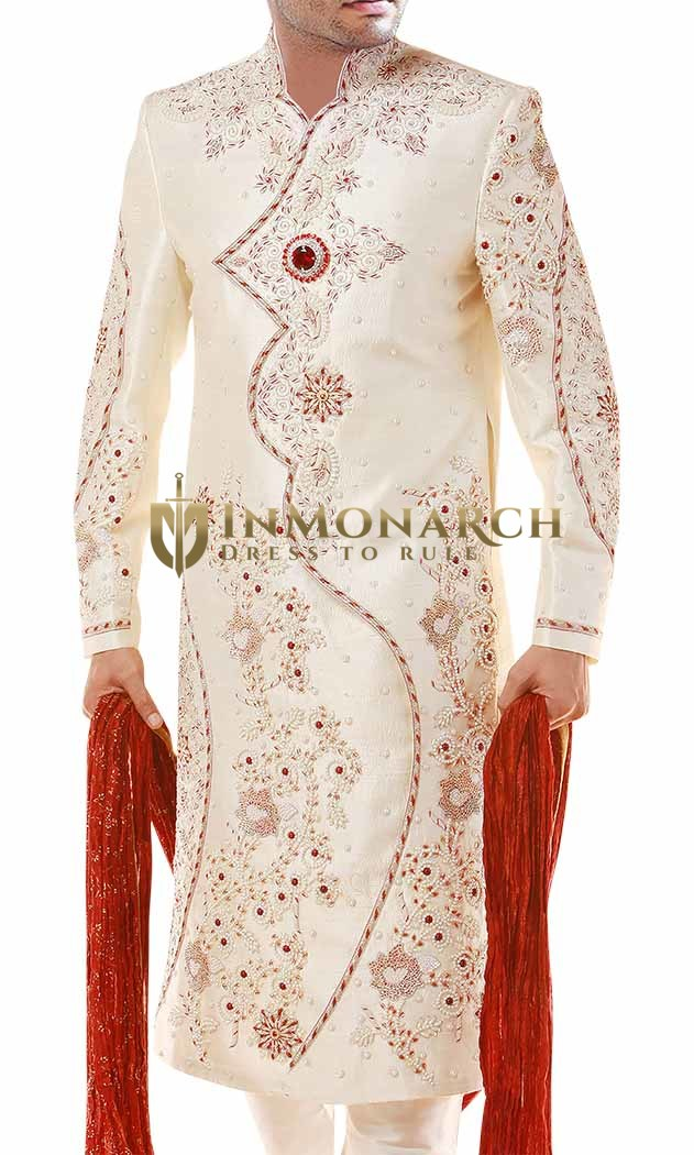 Superb Cream Exclusive Indian Wedding Sherwani