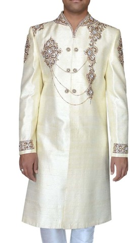Mens Cream Designer 2 Pc Sherwani V Neck