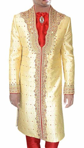 Mens Golden 4 Pc Sherwani Traditional Indian