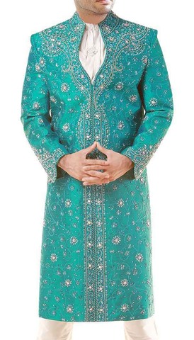 Modern Turquoise Designer Groom Sherwani