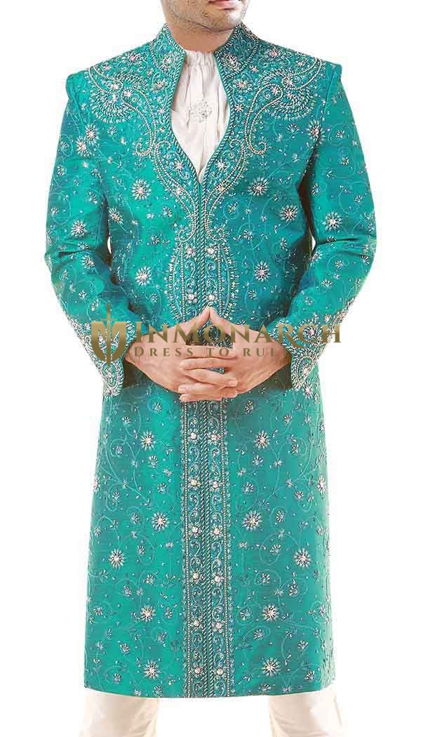 Men Sherwani Turquoise Sherwani Designer Groom indian Wedding