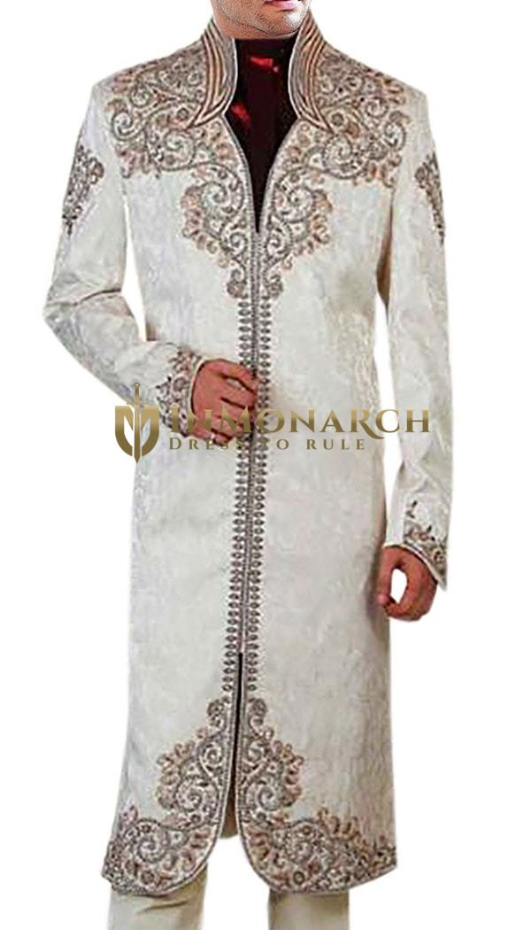 Mens Cream 3 Pc Sherwani Designer Work