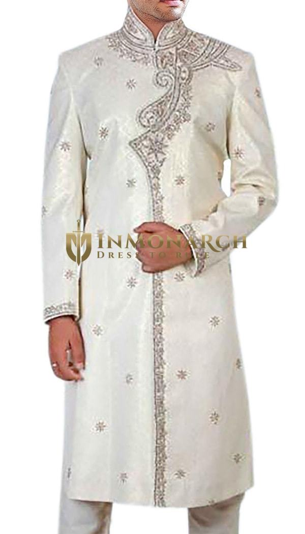 Mens Cream Dupion 2 Pc Indian Wedding Sherwani