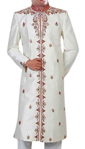 Mens Cream 2 Pc Wedding Sherwani Red-Kissed