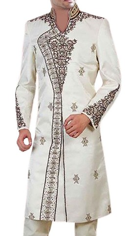 Mens Forest of Cream Bollywood-Style 2 Pc Sherwani