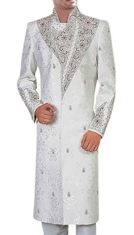 Mens White Brocade 2 Pc Sherwani Embroidered