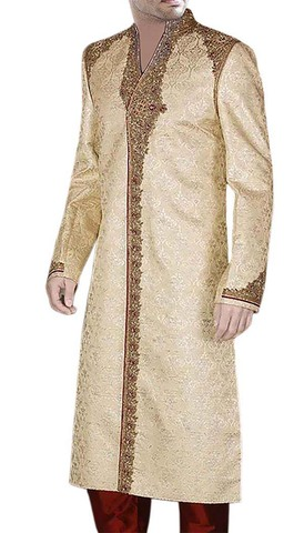 Mens Golden Treasure Wedding 2 Pc Sherwani Embroidered