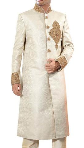 Mens Indo WesternOutfit Beige Jamawar Sherwani Decorative