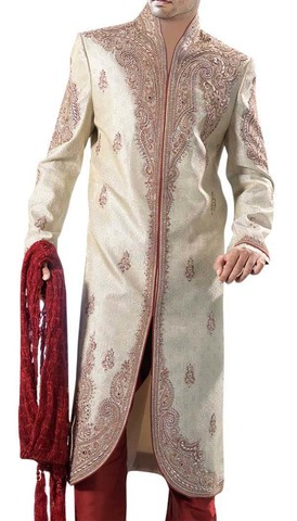 Mens Indo Western Outfit Beige mens Indian Suit Sherwani Heavy Work
