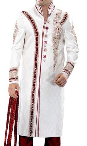 Maroon-Blazed White Sherwani
