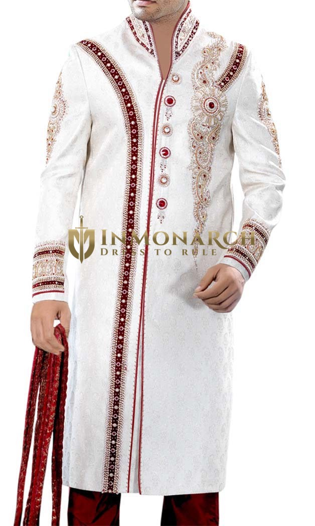 Mens Maroon-Blazed White 3 Pc Sherwani Designer