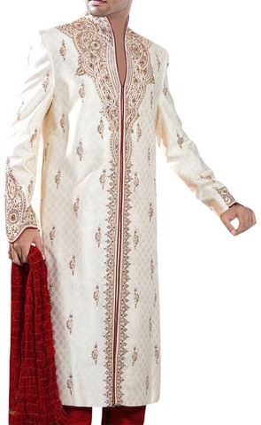 Mens Cream Designer 3 Pc Sherwani Traditional